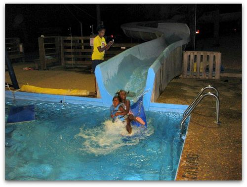 Summer camp water slide fun picture