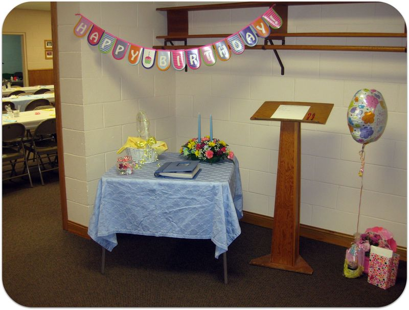 70th birthday party book table