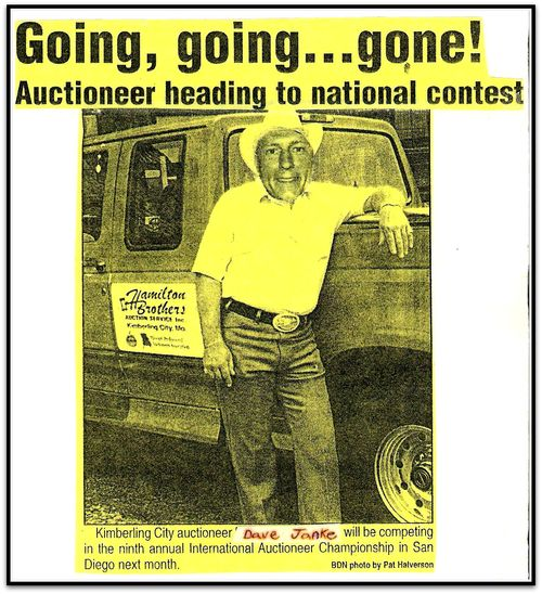 Auctioneer News Clipping postcard Dave