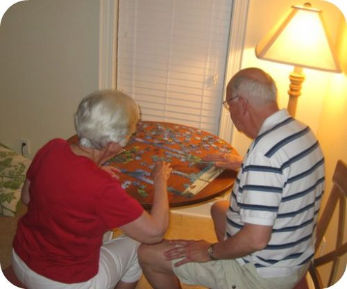 Working Puzzles on a family vacation