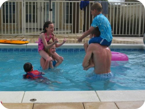 Swimming in the pool with cousins