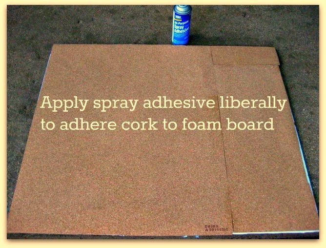 Adhere cork to foam board2