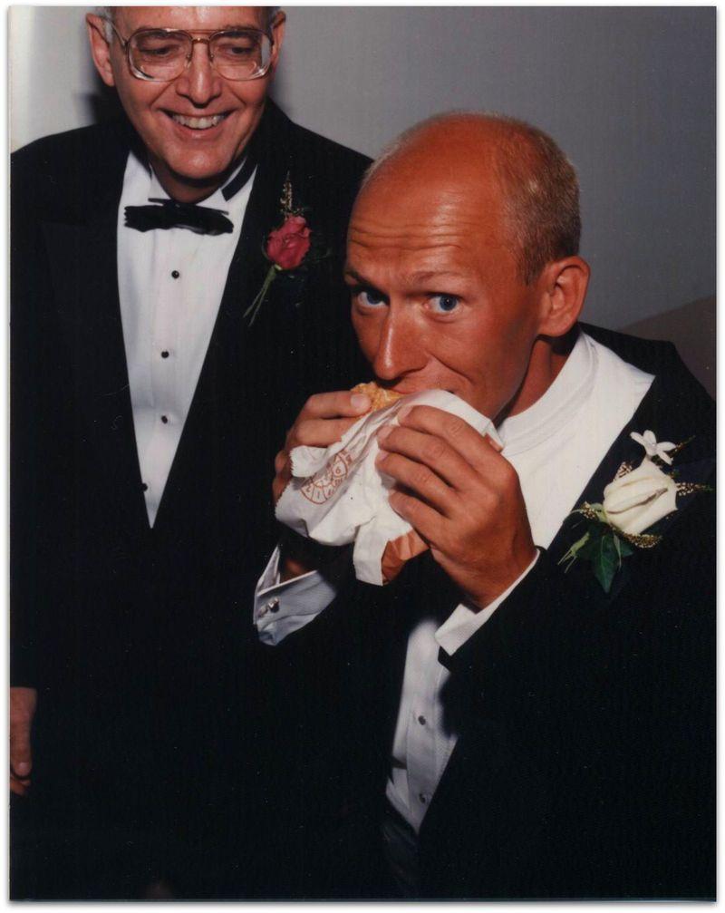Wedding photo dave eating burger