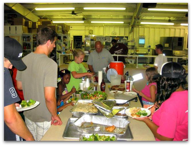 Summer camp dining hall buffet