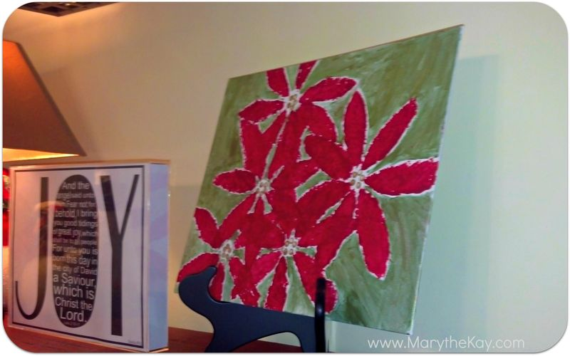 Christmas art pointsettia painting