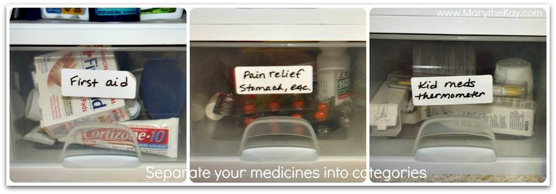 Organizing the medicine cabinet drawers