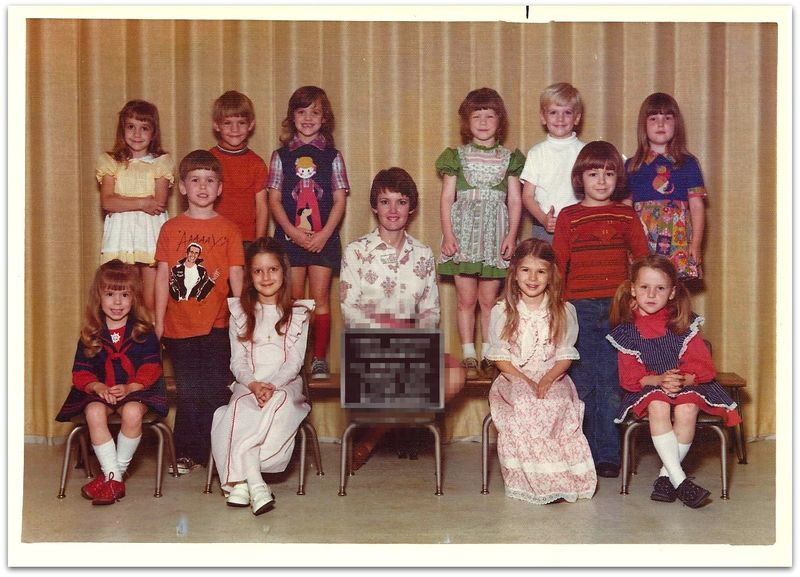1970s retro Kindergarten class picture