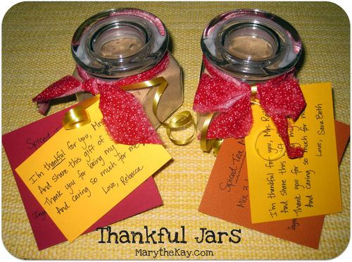 Thankful jars finished with gift tags