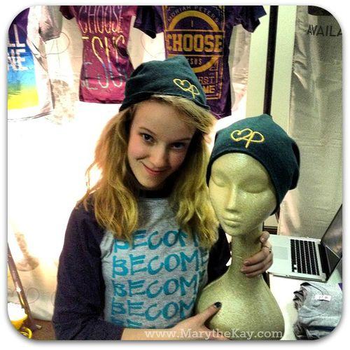 Moriah Peters benie hat and Rebecca
